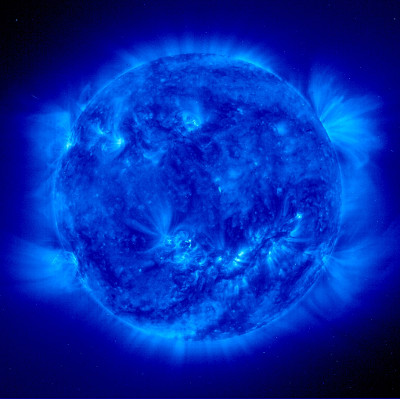 Image of the sun taken at x-ray wavelengths